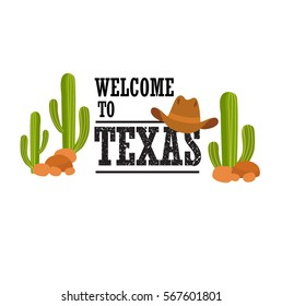 """Vector illustration Font """"welcome to Texas"""". Cactus, stone cowboy hat. It can be used as a poster, postcard invitation. US state."""