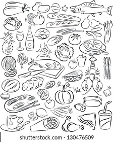 vector illustration of  food collection in black and white
