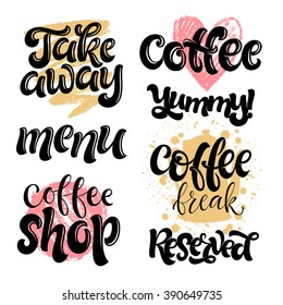 Vector illustration, food design. Hand lettering for restaurant, cafe menu, coffee house and shop. Vector elements for labels, logos, badges, stickers or icons. Calligraphic and typographic collection