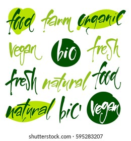 Vector illustration, food design. Handwritten lettering for restaurant, cafe menu. Calligraphic and typographic collection. Vegan, Bio, Ecology, Organic logos and icons, labels, tags.