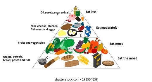 Nutrition Infographics Food Pyramid Diagram Ketogenic Stock Vector
