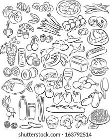 Vector illustration of food doodle set in line art mode