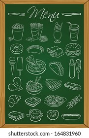 Vector illustration of food icons drawn on green chalkboard