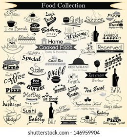 vector illustration of food menu calligraphy
