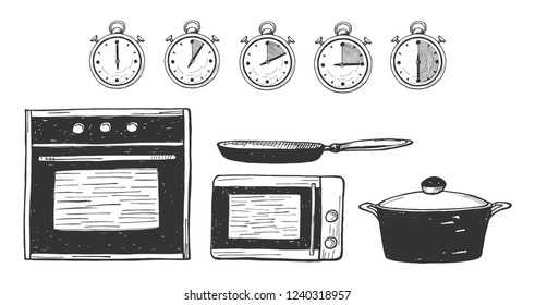 Vector illustration of a food preparation time. Oven, microwave, pan, saucepan, pot icons. Timer 0, 5, 10, 15, 30 minutes. Hand drawn style.