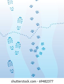 vector illustration of foot prints of man, dog and a bird on the snow