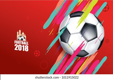 vector illustration football 2018 Russia. soccer cup graphic design set banners with modern abstractions patterns on background. realistic isolated vector ball stylish divorces and line of paint