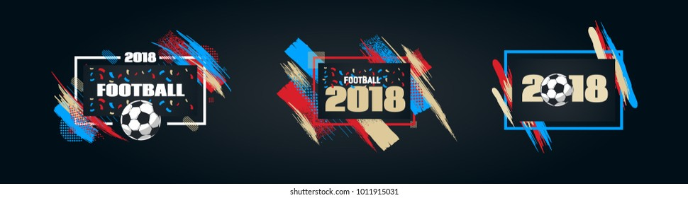 vector illustration football cup 2018. design of stylish background soccer championship. vector ball. element design cards, invitations, gift , flyers, brochures. pattern dynamic lines