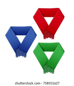 Vector illustration of football fans scarf in different colors. Isolated on white background