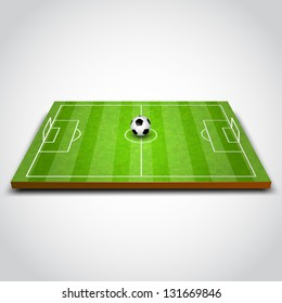 vector illustration of football field with ball. soccer