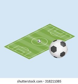 Vector illustration. Football field and ball.