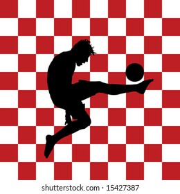 vector illustration of a football player with red and white checkers in background