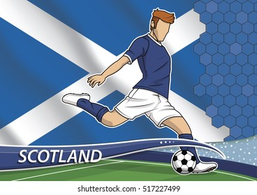 Vector illustration of football player shooting on goal. Soccer team player in uniform with state national flag of Scotland.