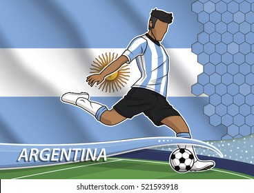Vector illustration of football player shooting on goal. Soccer team player in uniform with state national flag of argentina.
