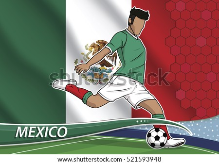d489a0a5255 Vector illustration of football player shooting on goal. Soccer team player  in uniform with state