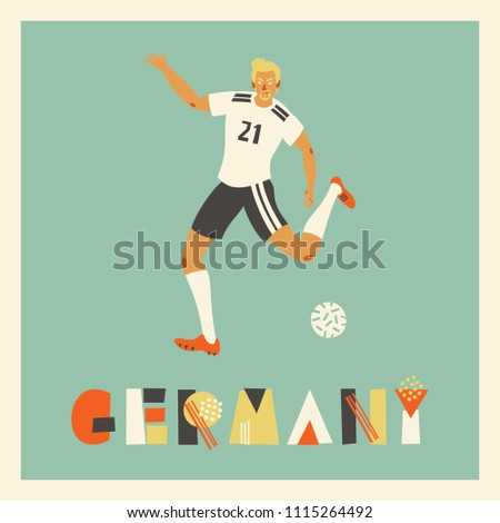 85dbfa6c79b2 Vector illustration with football player in uniform in colors of German  team. Card with footballer