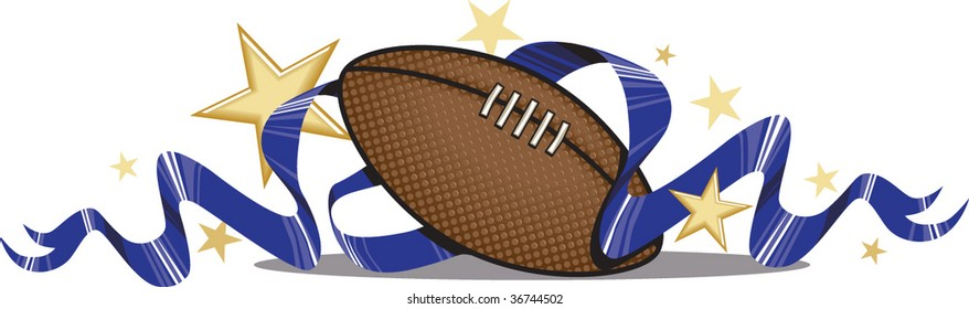 A vector illustration of a football with ribbons and stars