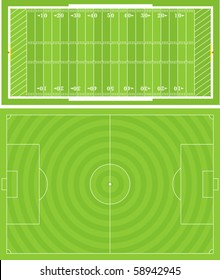Vector illustration of Football (Soccer) and American Football fields. Accurately proportioned.