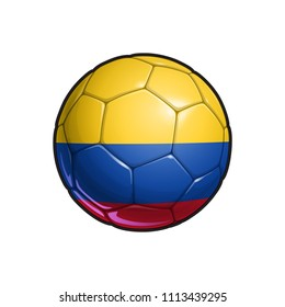 Vector Illustration of a Football – Soccer ball with the Colombian Flag Colors. All elements neatly on well defined Layers