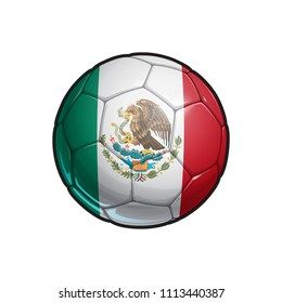 Vector Illustration of a Football – Soccer ball with the Mexican Flag Colors. All elements neatly on well defined Layers