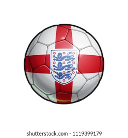Vector Illustration of a Football – Soccer ball with the English National Team ensign and Flag Colors. All elements neatly on well defined Layers
