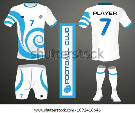 f66e0ac43 Vector illustration of football t-shirt template. soccer kit or football  jersey template for