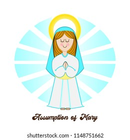 Vector illustration for: The Assumption of Mary. Saint Mary the Virgin.
