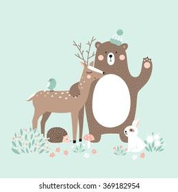 Vector illustration, forest animals, deer, bear, rabbit, hedgehog, bird