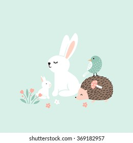 Vector illustration, forest animals, rabbits, hedgehog, bird