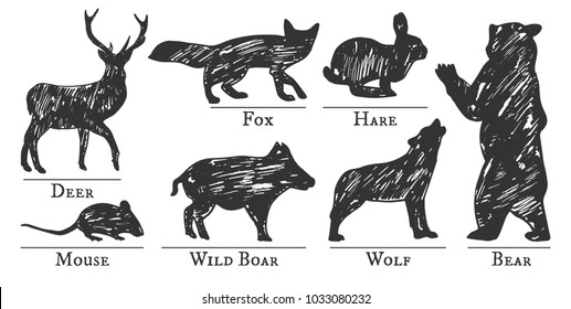 Vector illustration of a forest animals silhouettes drawn in sketchy manner. Hand-drawn grunge style.