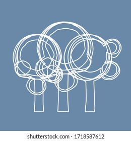 Ilustración vectorial, Bosque sobre fondo azul ( líneas y curvas )