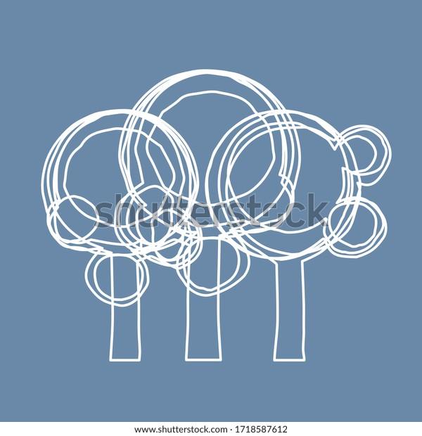 Illustration vectorielle, Forêt sur fond bleu (lignes et courbes)