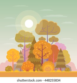 Vector illustration of forest or park in trendy flat style in the autumn.