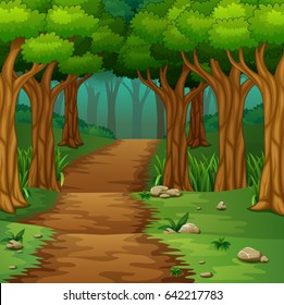 Vector illustration of Forest scene with dirt road