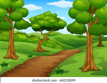 Vector illustration of Forest scene with dirt trail
