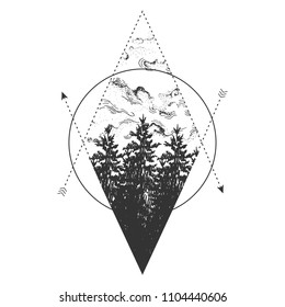 Vector illustration of forest, sky, arrows and geometric elements. Scandinavian style nature composition. Vintage hand drawn engraving style.