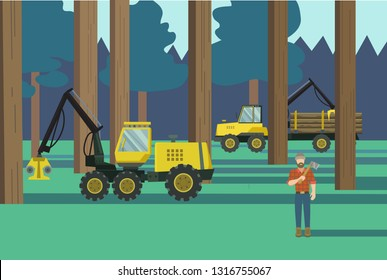 Vector illustration of forestry vechichle at work