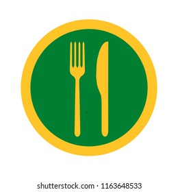 Vector illustration of fork and knife icon