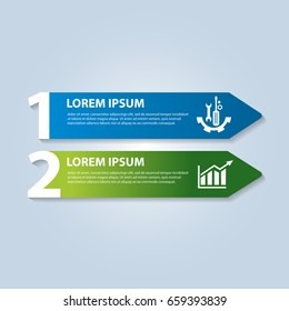 Vector illustration in the form of arrows and numbers. Infographics with 2 steps and arrows for web sites, diagrams, reports, business presentations, workflow, education. Banner with two actions.
