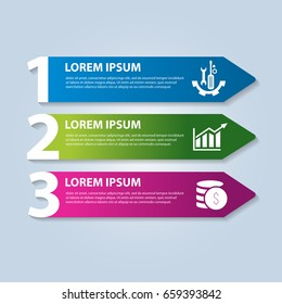 Vector illustration in the form of arrows and numbers. Infographics with 3 steps and arrows for web sites, diagrams, reports, business presentations, workflow, education. Banner with three actions.