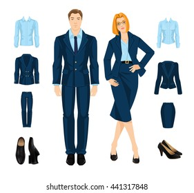 Vector illustration of formal clothes and shoes. Secretary or professor in blue suit isolated on white background