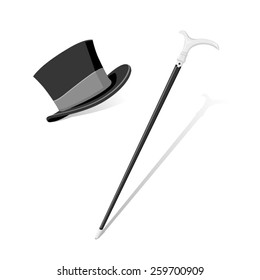 A vector illustration of a formal top hat and cane. Top hat and cane. Evening and formal wear.