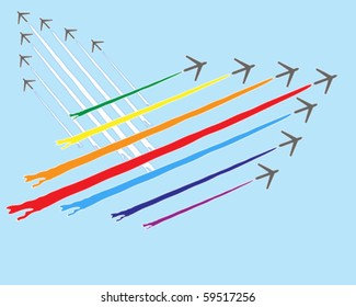 vector illustration of a formation of aircraft with colored smoke trails in a blue sky