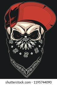 Vector illustration of a formidable skull in a red baseball cap, on black background