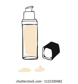 Vector Illustration Foundation cream with drops. Make up cosmetic product for banner, poster. Liquid foundation background with cream tube. Vector illustration