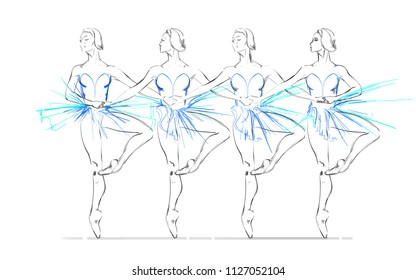 Vector Illustration of Four Ballerinas. Swan Lake Ballet. Freehand Drawing of Young Ballet Dancers. Free Hand Draw. Vector Monochrome Sketch of Dancing Girls. Classical Choreography. Realistic Style.