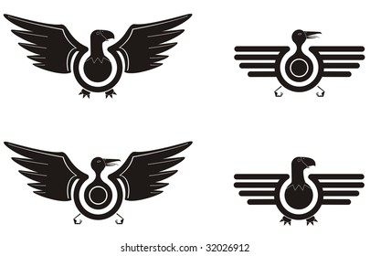 Vector illustration of four bird symbols with wings in the style of a pilot crest ideal for digital stamp or decal and more