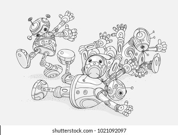 Vector illustration of four broken cartoon robot contour line black and white drawing an outline isolate