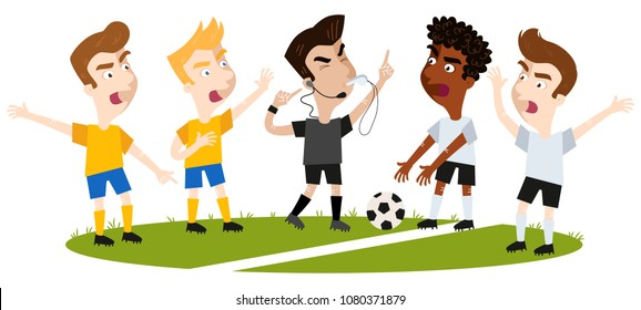 Vector illustration of four cartoon football players disagreeing and gesturing, standing on football field, referee trying to interfere pointing to headset isolated on white background