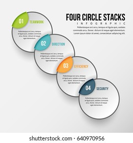 Vector illustration of four circle stacks infographic design element.